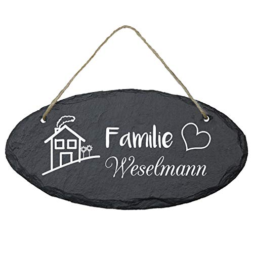 Geschenke 24: Schiefertafel personalisiert für Ehepaare (oval 25 x 15 cm - Familienname) – personalisiertes Türschild mit Familien-Name - Geschenkidee zur Hochzeit/Hochzeitsgeschenk Ideen