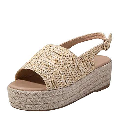 Sandalias Mujer Verano 2019 Zapatos de Plataforma Mujer Sandalias Planas Playa Zapatillas Sandalias de Punta Abierta Casual Fiesta Roman Tacones Altos Sandalias de Paja vpass