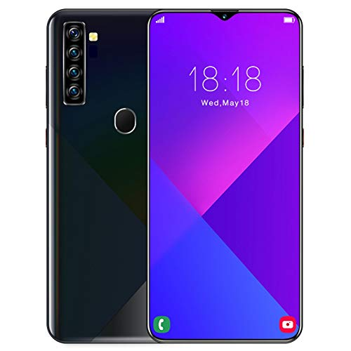AYZE Smartphone 4gb Ram Android 10 6.7-Inch Screen, 4800mah Battery, 13mp-24mp Professional Camera, Fingerprint and Face Unlock, Mobile Phone with Earphone 64GB Black