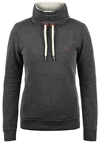 DESIRES Ozeana Pile Damen Sweatshirt Pullover Pulli Mit Teddy-Futter Mit Stehkragen, Größe:S, Farbe:Dark Grey Melange (8288)