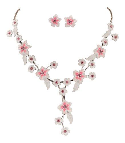 Romantik Trachtenschmuck Dirndl Blüten Collier Set - weiß rosa/pink - Kette und Ohrstecker