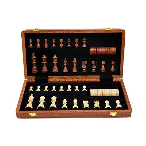 KHUY 2 en 1 Ajedrez Madera para Adultos/Tablero de Ajedrez Madera, ajedrez Infantil Juegos Reunidos Niños únicas y Ajedrez Magnetico Juego de Mesa de Ajedrez para Niños