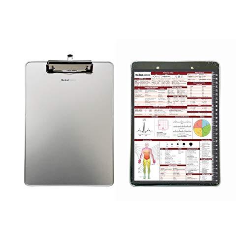 EMT Klemmbrett (Aluminium) mit medizinischem Kurzblatt (flacher Clip) – Klemmbrett für EMT, Sanitäter, Krankenschwestern, ER-Ärzte