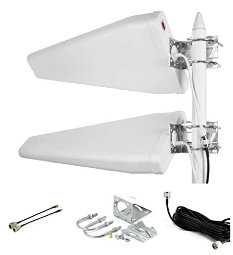 Dual MIMO Wideband Directional Antenna 700-2700 MHz, 11dBi LTE 3G 4G Wide Band Fixed Mount Yagi Network Booster Complete Kit with 30 feet RG58 Cable, SMA Male to Female and TS9 Connectors