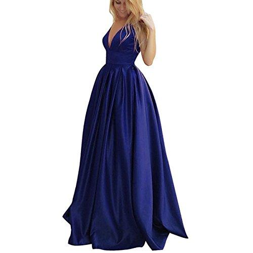 LuckyShe Damen Lang Elegant Abendkleider Ballkleid für Hochzeit Hochzeitsgäste A-linie Rückenfrei