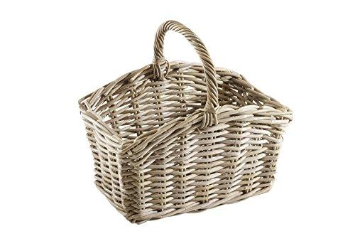 Kobolo Einkaufskorb Picknickkorb aus robstem Rattan handgeflochten 41x26x37 cm