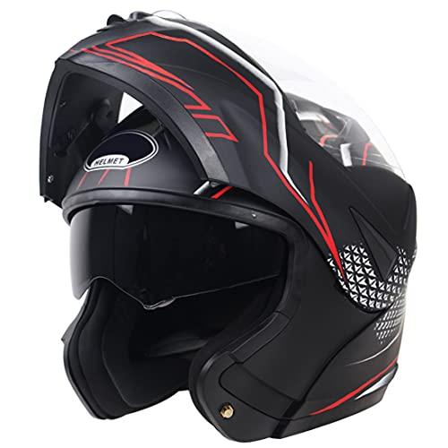 fenengcheng - Casco modular ECE 22.05 homologado casco de moto modular doble visera/modulable rojo mate para Scooter Chopper (XL)