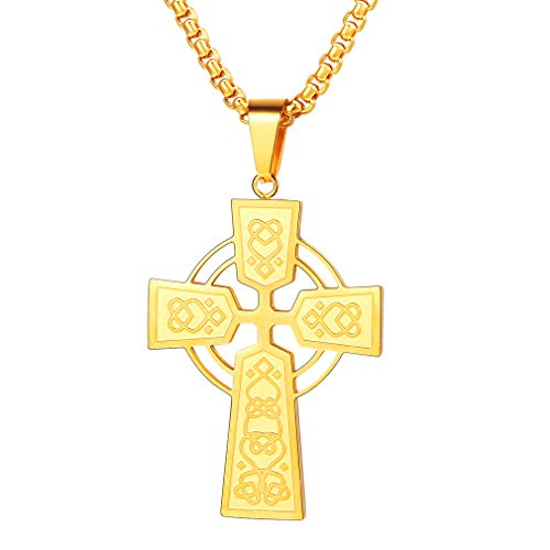 FaithHeart Men Irish Knot Celtic Cross Pendant Necklace 18K Gold Plated Jewelry with 22 inch Sturdy 3MM Box Chain for Men Vintage Jewelry Gold