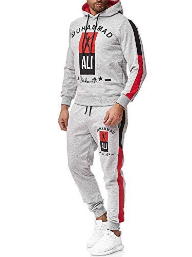 OneRedox Herren Jogginganzug Trainingsanzug Sportanzug Boxen Ali Modell 3462 Grau XL