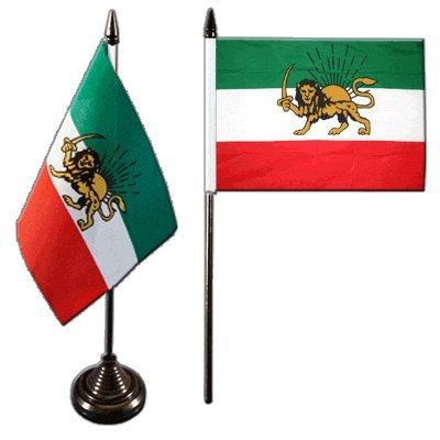 Flaggenfritze Tischflagge/Tischfahne Iran Shahzeit + gratis Aufkleber