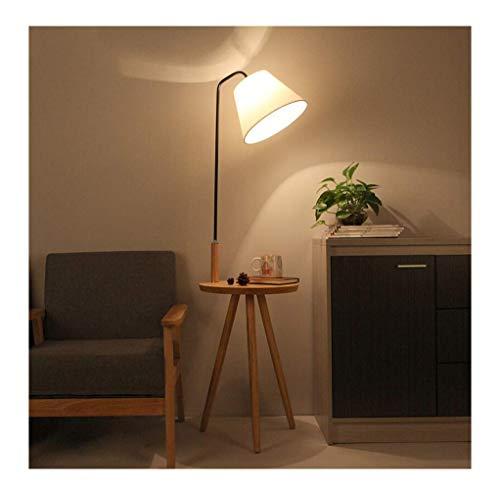Vloerlamp, moderne minimalistische slaapkamer, verticale noordelijke vloerlamp, zwarte buis houten kleur