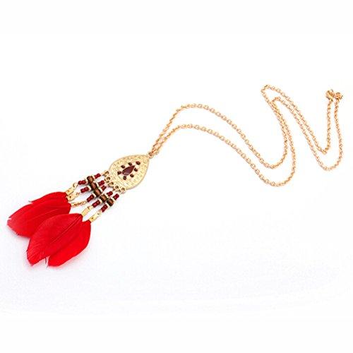 BESTOYARD Halskette mit Quasten-Anhänger, Boho Halskette, Geschenk für Freundin (rote Feder)