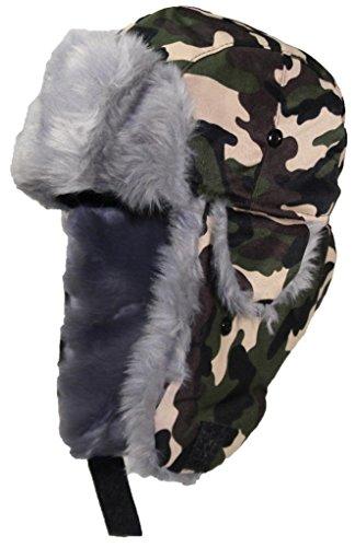 Best Winter Hats Adult Camouflage Cotton Russian W/Soft Faux Fur - Woodland Camo (M/L)
