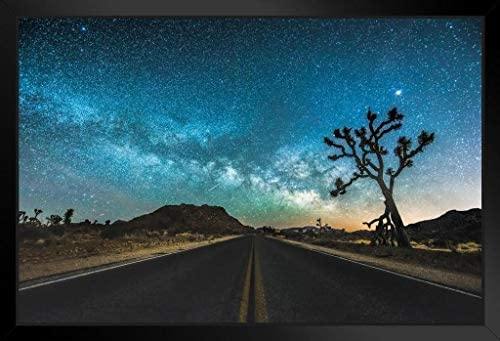 JT Road Joshua Tree National Park Starry Sky Photo Photograph Art Print Stand or Hang Wood Frame product image