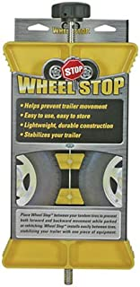 Camco Yellow RV Wheel Stop-Stabilizes Your Trailer by Securing Tandem Tires to Prevent Movement While Parked-Large (44622)