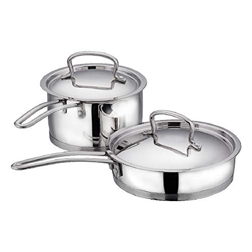 Vinod Classic Deluxe Stainless Steel Induction Friendly 2 Pcs. Set (16 cm Stainless Steel Saucepan with Lid, 20 cm Stainless Steel Fry Pan with Lid)