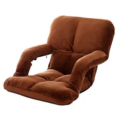 BGROEST Lehrstuhl für Kinder und Erwachsene Memory Foam Floor Chair Gepolsterte Gaming-Stühle Komfortable Rückenlehne (Farbe : Braun, Größe : 92 * 58 * 12cm)
