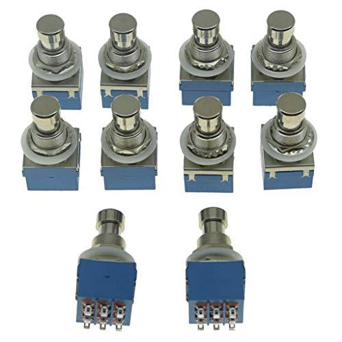 Dopro Paquete de 10 cajas de 9 pines 3PDT con efecto de guitarra, interruptor de pedal con botón de pie, color azul