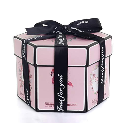 Rongxin Caja de regalo hexagonal para manualidades, álbum de recortes hecho a mano, caja de San Valentín (color de flamenco)