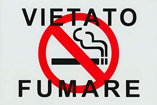 Cartello Vietato Fumare Plastificato 30 x 20 Cm per visibilità Distanza.