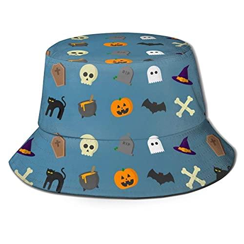 Chapeau bob pliable réversible tête de mort citrouille chat et fantôme imprimé chapeau de soleil pêcheur casquettes pour homme femme noir A1