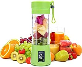 SHOPPOSTREET 4 Blades Portable USB Electric Blender Juicer Cup Plastic Fruit Juicer Grinder 380ml Juice Blender Fruit Juicer Bottle (Multicolour)