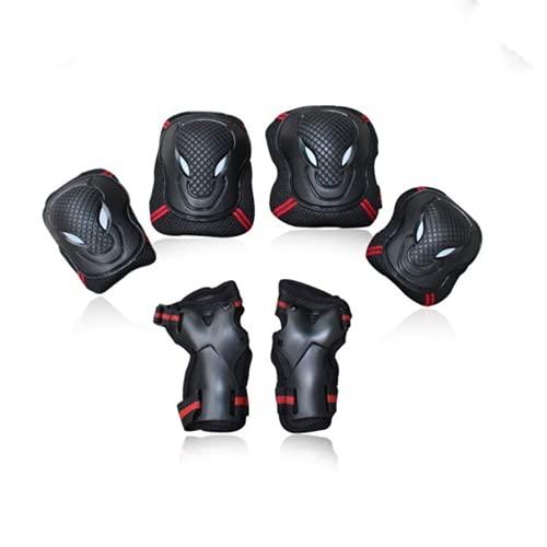 N / B Almohadillas de Rodilla Codels con Guardias de muñeca Conjunto de Engranajes de protección 6, protección de múltiples Deporte, Unisex, para patinetas Ciclismo Patinaje Bicicleta Scooter, Negro