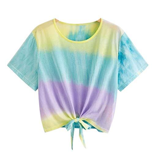 Amlaiworld Camiseta Deportiva Mujer gradiente Moda Mujer O-Cuello Manga Corta gradiente Tie-Dye Imprimir Corto Ocasional Top Blusa Camisas Pullover Sudaderas Mujer Tumblr Cortas