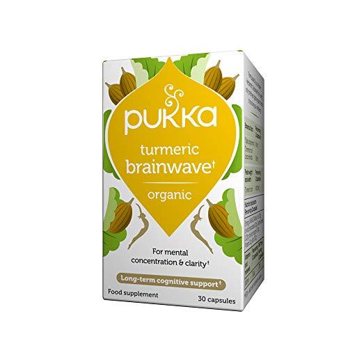 Pukka Herbs Turmeric Brainwave, Organic Wholistic Turmeric with Brahmi and Gotu Kola, Pack of 30 Capsules