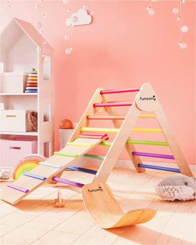 Pikler Triangle Climber with Ramp, Wooden Baby Climbing Toys Indoor, Foldable Montessori Toddler Climber Slide, Colorful Waldorf Pickler Climbing Triangle Toy Set for Kids, Ladder, Toddler Pikler Gym