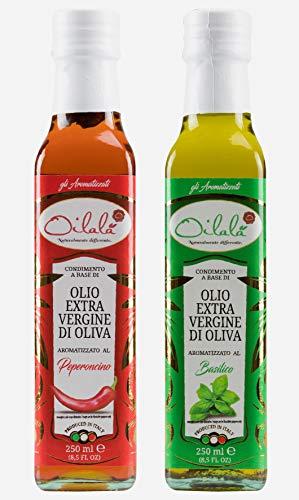 OILALÀ Gli Aromatizzati, Aceite de Oliva Virgen Extra Aromatizado con Albahaca y Ají Aceite de Oliva Virgen Extra Aromatizado, 2 Botellas de Aceite 250 ml