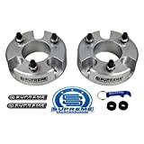 Supreme Suspensions - Front Leveling Kit for 2005-2020 Nissan Frontier and 2005-2015 Nissan Xterra 3' Front Lift Aircraft Billet Strut Spacers Kit 2WD 4WD (Silver)