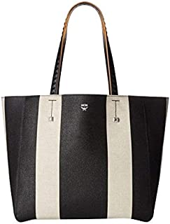 MCM Women's Black/Beige Canvas Tote Bag MWP8SVW50BK001 (Medium)