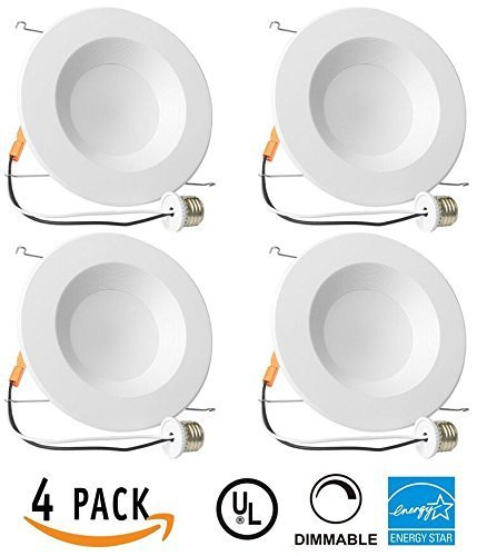 "Recessed Lighting Fixture 5/6"" Retrofit Downlight, Dimmable LED, ENERGY STAR,UL-listed ETL Classified - 12W (100W Equivalent), 5000K Daylight LED, 1000LM, CRI90, Commercial or Residental [4 Pack]"