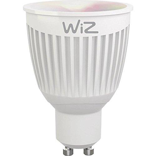 Smartes LED-Leuchtmittel von WiZ; Kolbenform GU10, weiß + farbig, WLAN-schaltbar. Dimmbar; 64.000 Weißschattierungen + 16 Mio. Farben. Kombinierbar mit Amazon Alexa und Google Home.