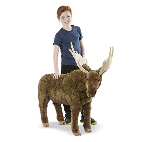 Melissa & Doug Standing Lifelike Plush Giant Moose Stuffed Animal (38 x 41.5 x 13 in)