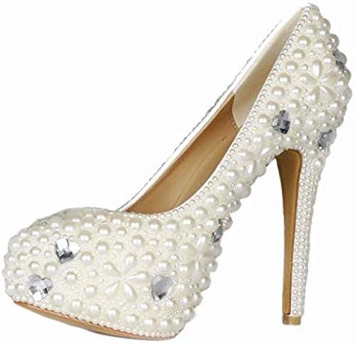 MISS&YG damen Rhinestone Wedding Heels Kleid Sandalen Prom Schuhe Hochzeitsschuhe Flachen Mund High Heels Kleid Party-Court-Schuhe
