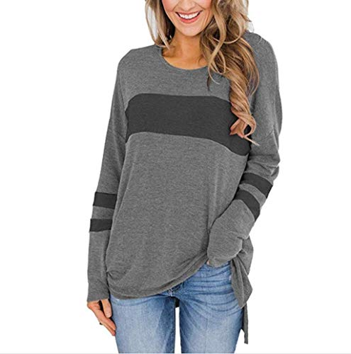 Damen Rundhals Langarmshirt Casual Farbblock Sweatshirt T-Shirt Side Split Lose Oberteile Tunika Top Frauen Colorblock Oversize Oberteile Pullover Bluse