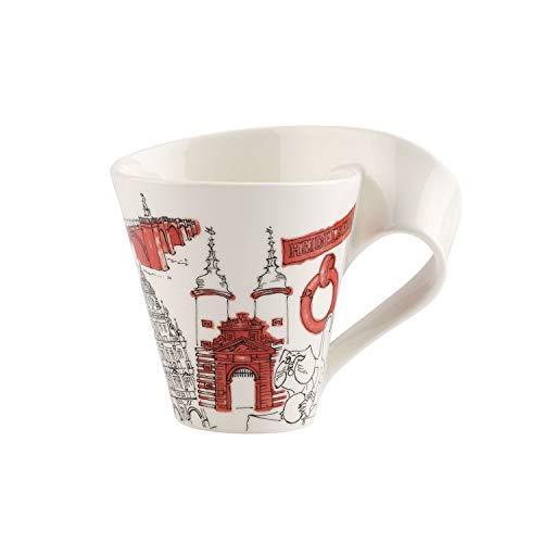 Villeroy & Boch Cities of the World Kaffeebecher Heidelberg, 300 ml, Premium Porzellan, rot