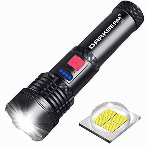 Rechargeable Tactical FlashlightXHP50 LED Flashlight 3000 Lumen5 ModesZoomableWaterproofUSB RechargeableHandheld Flashlight for Camping Hiking Biking Outdoor Activity