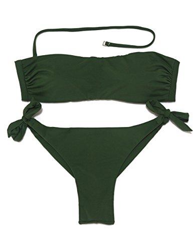 EONAR Damen Bandeau-Bikini-Top, freche brasilianische Slip - Grün - 65A/65B/70A