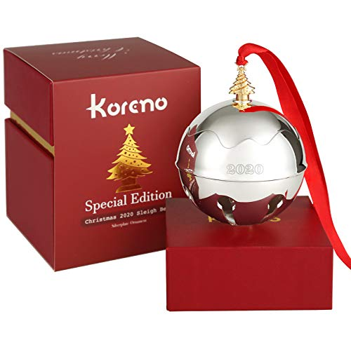 Koreno 2020 Christmas Silver Sleigh Bell Ornaments, Annual Christmas Holly Bell for Christmas Tree Decorations Anniversary Holiday Keepsake with Ribbon & Gift Box - 1st Special Edition