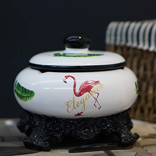 Sigaren asbak, Chinese keramiek asbak met deksel, flamingo decoratie woonkamer modern, party tuindecoratie