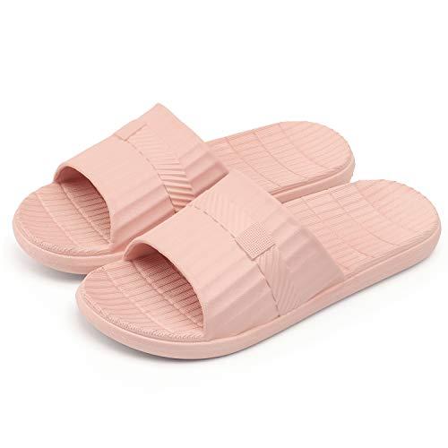 WINZYU Duschen Badeschuhe Damen Herren Hausschuhe rutschfest Sommer Badelatschen Hause Garten Schlappen, Pink 38/39 EU