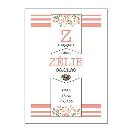 Adzif.biz ® - Poster Souvenir de Naissance Personnalisable et Unique - Flowers Fille - Dimensions 30 x 40 cm