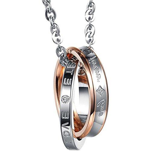Flongo Acier Inoxydable Pendentif Collier Forever Love Argent Or Anneau Amour Valentine Couple Hers Femme Chaîne 45cm
