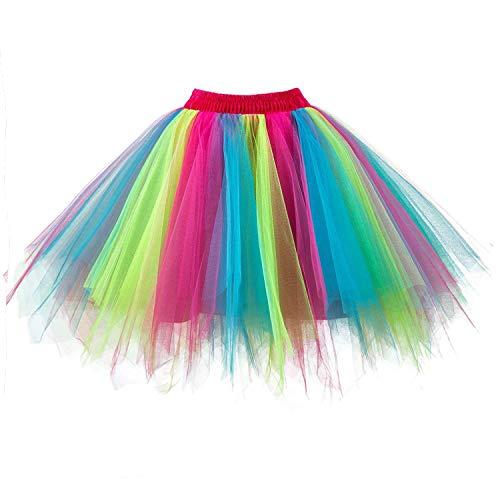 DresseverBrand Damen Petticoat 50er Rockabilly Jahre Retro Tutu Ballet Tüllrock Cosplay Crinoline Regenbogen Small/Medium