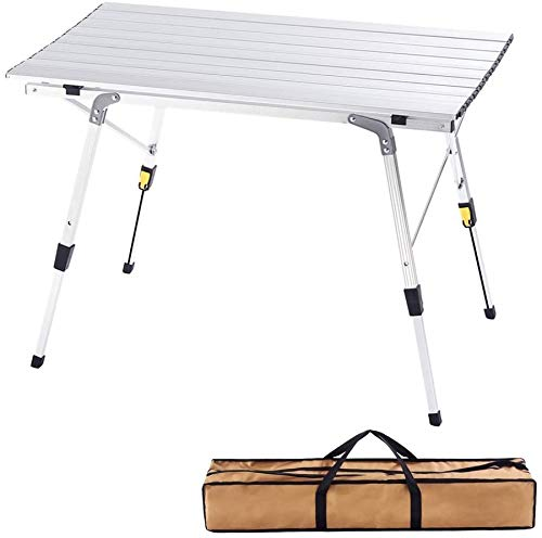 Outdoor Folding Portable Picnic Camping Table with Aluminum Legs Adjustable Height 35.4''