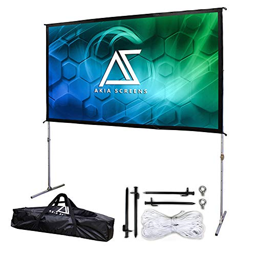 Akia Screens 120 inch Portable Outdoor Projector Screen with Stand and Bag 16:9 8K 4K Ultra HD 3D Adjustable Height Foldable Projection Screen Silver for Movie Video Home Theater AK-OS120H1