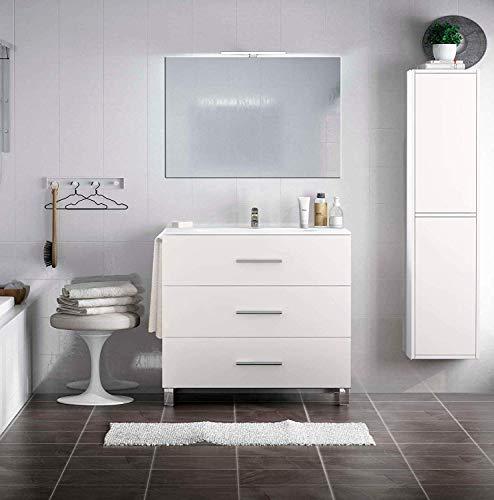PDM Mueble de baño Kayla con Espejo y Lavabo cerámico - 3 cajones...